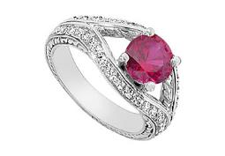 Created Ruby and Cubic Zirconia Ring 10K White Gold 2.75 Carat Total Gem Weight