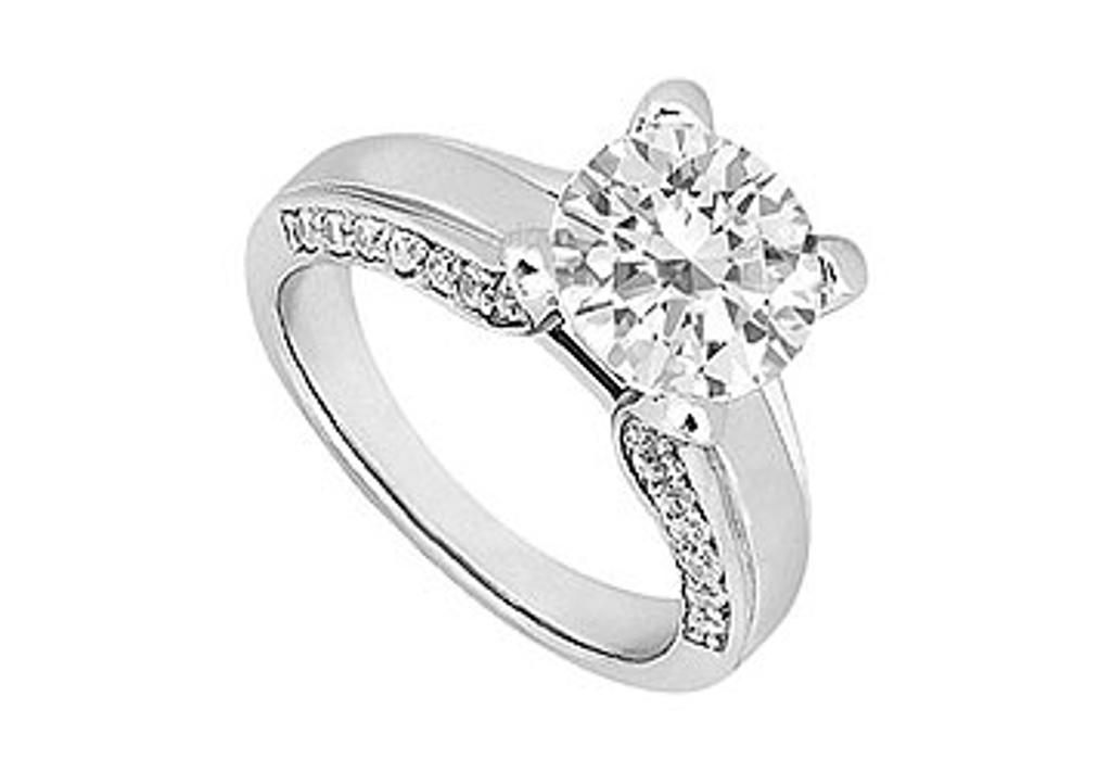 14K White Gold Engagement Ring with AAA Quality Cubic Zirconia of 1 Carat Total Gem Weight