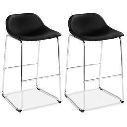 Set of 2 PU Leather Pub Barstools Dining Side Chairs