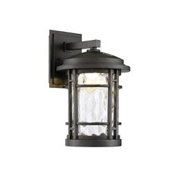 "Altair 9"" Led Outdoor Wall Lantern AL-2167 Burnished Bronze Finish with Clear Hammered Glass"
