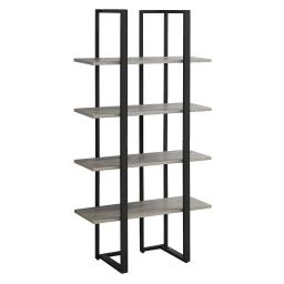 Offex Contemporary Home Industrial Look Black Satin Metal Bookcase, Dark Taupe - 40 lbs