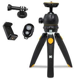 Kodak Photogear Mini Adjustable Tripod With Remote, 360A Ball Head, Compact 9 Tabletop Tripod,11 Selfie Stick, 5Position Legs, Rubber Feet, Smartphone & Action Camera Adapters, Eguide Included
