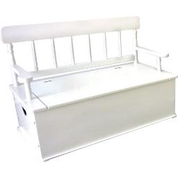 Wildkin Kids Wooden Bench Seat With Storage For Boys And Girls, Toy Box Bench Seat Features Safety Hinge, Backrest, And Two Carrying Handles, Measures 34 X 265 X 18 Inches (White)