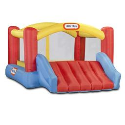 Little Tikes Jump N Slide Bouncer Inflatable Jumper Bounce House Plus Heavy Duty Blower With Gfci, Stakes, Repair Patches, And Storage Bag 1062 Inch X 1377 Inch X 657 Inch Ages 38 Years