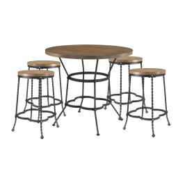 5 Piece Counter Height Set with 1 Table and 4 Stools, Brown and Black