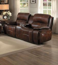 Leatherette Upholstered Power Dual Recliner Loveseat With Console, Brown