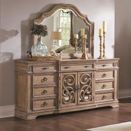 Wooden Dresser with Traditional Design, Brown