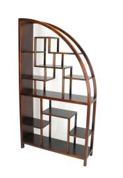 Half Arch Shape Display Unit with Multiple Shelves and Straight Legs,Brown