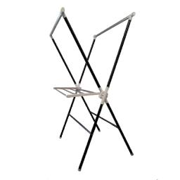 Plastic and Metal Frame Folding Laundry Rack, Black and White