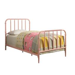 Metal Full Bed with Beaded Headboard And Footboard Design, Pink