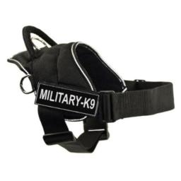 DT Fun Works Harness, Military-K9, Black With Reflective Trim, Small - Fits Girth Size: 22-Inch to 27-Inch