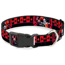 Buckle-Down Harley Quinn Bomb Poses/Suits Black/Purple/Red Plastic Clip Collar, Narrow Medium/7-13""