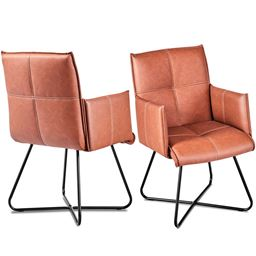 Set of 2 Dining Chairs PU Leather Leisure Accent Chairs w/Metal Legs