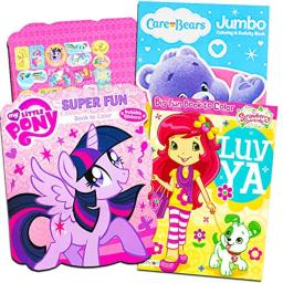 Classic Coloring Books For Girls -- Set of 3 Books Featuring Care Bears, Strawberry Shortcake and My Little Pony with Stickers