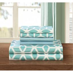 Chic Home 6 Piece Bailee Supersoft Brushed Microfiber Deep Pocket Striped Pattern Queen Sheet Set Green WITH 2 BONUS PILLOW CASES