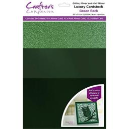 Crafter's Companion CP-LMIX-GREEN811 Glitter/Mirror Cardstock, Green