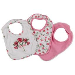Laura Ashley Laura Ashley 3 Pack Infant Bibs with Flower Bouquet Ebroidered Applique