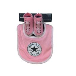 Converse Infant Baby Chuck Taylor Booties & Bib Set (6-12 Months, Pink(BC0007-A6A)/White)