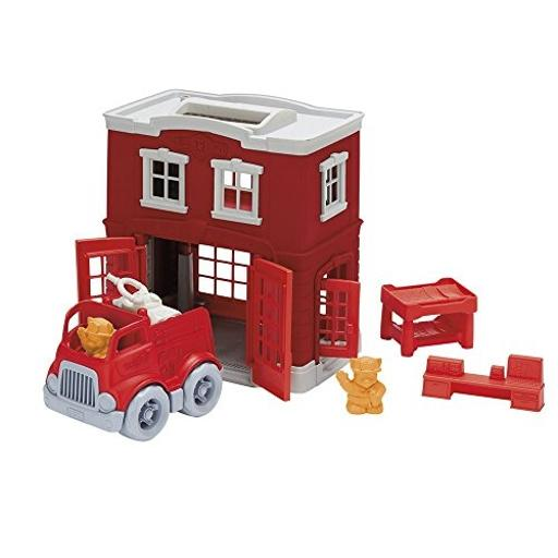 Green Toys Fire Station Playset Made in the USA*100% recycled plastic*No BPA, phthalates, or PVC