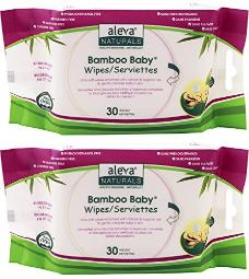 Aleva Naturals Bamboo Baby Wipes (Pack of 2) With Natural and Organic Oils, Aloe Vera, Chamomile, Natural Tea Tree and Lavender, 30 ct.