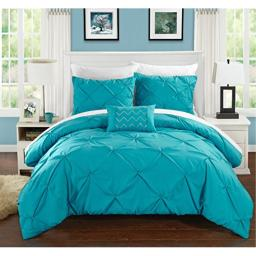 Chic Home 3 Piece Daya Pinch, Ruffled and Pleated Complete Twin Duvet Cover Set Turquoise Shams and Decorative Pillows Included