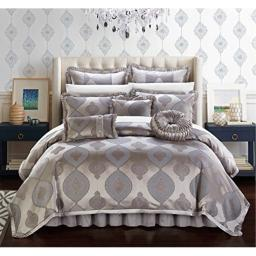 Chic Home Cipriana 9 Piece Comforter Set Jacquard Scroll Faux Silk Bedding with Pleated Flange - Bed Skirt Decorative Pillows Shams Included King Taupe