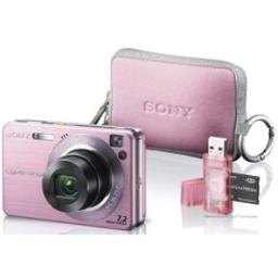 Sony Cyber-shot DSCW120MDG/P 7.2 MP Digital Camera with 4x Optical Zoom with Super Steady Shot (Pink) with LCS-TWE/PI Carrying Case and MSRW-MD1/P Memory Stick Duo Adaptor