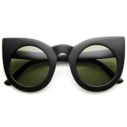 zeroUV - 70s Womens Large Oversized Retro Vintage Cat Eye Sunglasses For Women with Round Lens 48mm (Matte Black/Gree) 100% Protection Against Harmful UVA/UVB Rays*U.S. Standard ANSI Z80.3-2001 | CE Certefied*Oversized Cateye Silhouette*Prominent Pointed Corners*30 DAY MONEY BACK GUARANTEE AND 90 DAY LIMITED WARRANTY AGAINST MANUFACTURER DEFECTS: Our main goal is make our customers happy and provide the best shopping experience; If you are not completely satisfied with our product or your purchase please contact us, we'll be happy to help