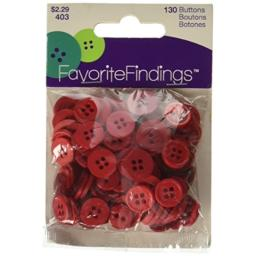 Blumenthal Lansing Favorite Findings Basic Buttons Assorted Sizes, 130/Pkg, Red