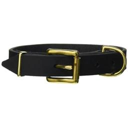 "Dean and Tyler ""B and B"", Basic Leather Dog Collar With Solid Brass Hardware - Black - Size 14-Inch by 1-Inch - Fits Neck 12-Inch to 16-Inch"