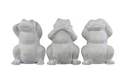 Urban Trends Cement Standing Frog No Evil Figurine in Washed Concrete Finish, Assortment of 3 - White