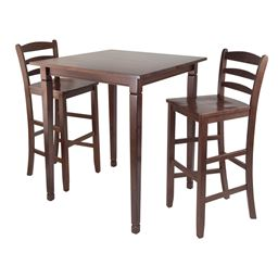 Winsome Solid Wood 3-Piece Kingsgate High/Pub Dining Table with Ladder Back High Chair