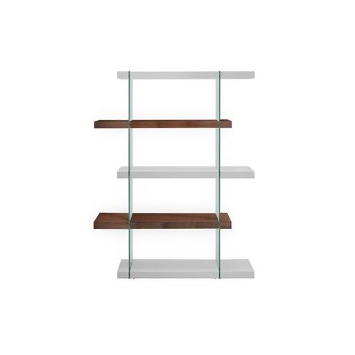 Casabianca Furniture CB-111-WHWAL-BKS Il Vetro Glass Bookcase, White & Walnut Veneer - 71 x 55 x 13 in.