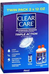 Clear Care 3% Hydrogen Peroxide Cleaning & Disinfecting Solution - 2 X 12 Oz, Pack Of 4