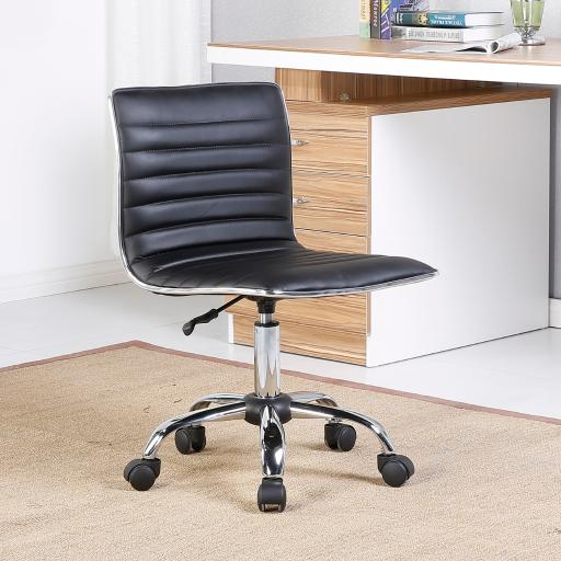 Belleze Adjustable Modern Swivel Office Conference Chair Task Desk Chair Ribbed Seat, Black