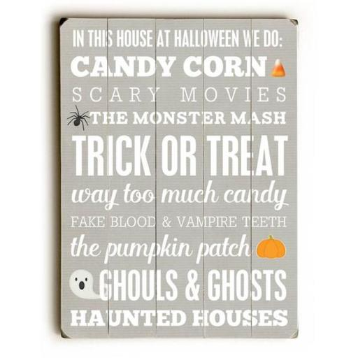 One Bella Casa 0004-9650-31 25 x 34 in. Halloween Subway Wall Sign Planked Wood Wall Decor by Cheryl Overton