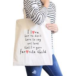Favorite Daughter Natural Canvas Shoulder Bag With Funny Quote