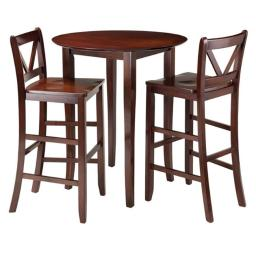 Winsome 94385 38.9 x 33.86 x 33.86 in. Fiona High Round Table with 2 Bar V-Back Stool, Walnut - 3 Piece