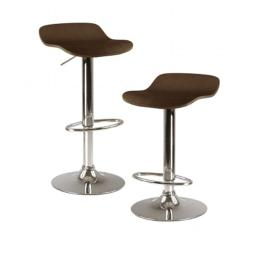 Winsome 93489 Kallie Air Lift Adjustable Stool in Cappuccino- Set of 2