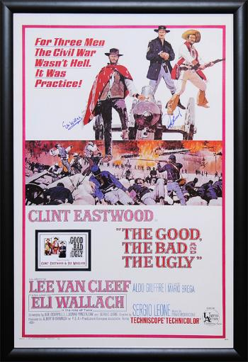 Good, the Bad & the Ugly - Signed Movie Poster in Wood Frame with COA