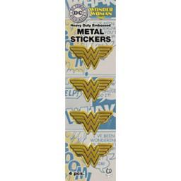 "DC Comics Licensed Heavy Duty Embossed Metal Stickers 4/Pkg Gold Wonder Woman Logo .75""X1.5"""