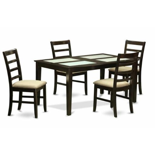 East West Furniture CAPF5G-CAP-C 5 Piece Dining Table Set- Glass Top Dining Room Table and 4 Dining Chairs