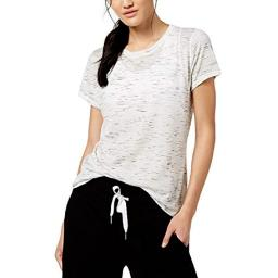 Calvin Klein Women's Performance Short Sleeve Tee with Inset Shoulder Seams Mist Heather Size Extra Large