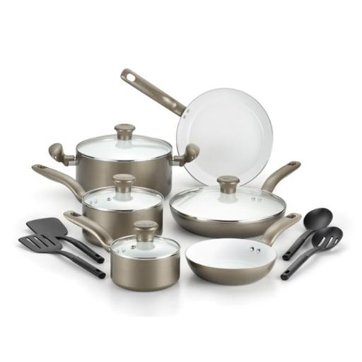 Initiatives Ceramic Nonstick Cookware Set, Champagne - 14 Piece Set