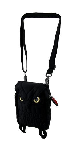 Small Owl Shaped Nylon Canvas Crossbody Bag w/Carabiner Clip