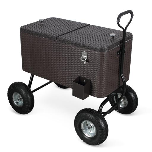 BELLEZE Portable 80 Qt Drink Cooler Wagon Backyard Patio Beach Party w/ Built-In Bottle Opener and Catch Tray, Rattan