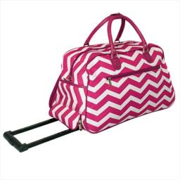 All-Seasons 8112022-165FW 21 in. ZigZag Collection Carry-On Rolling Duffel Bag, Fuchsia White