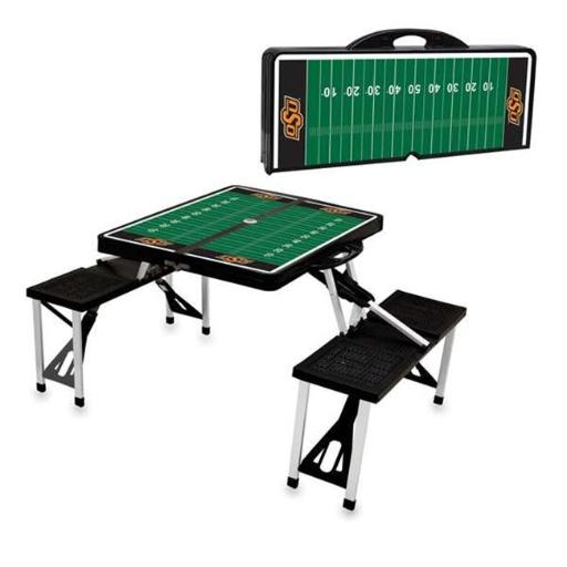 Picnic Time 811-00-175-465-0 Oklahoma State Cowboys Digital Print Portable Folding Picnic Table with Four Seats, Black