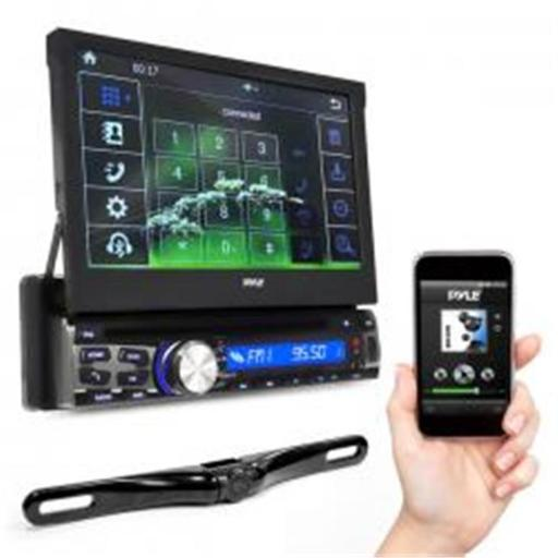 Pyle PLT85BTCM 7 in. Bluetooth Headunit Receiver & Backup Camera Kit, Built-in Mic for Hands-Free Call Answering, Touch Screen, CD & DVD Player, USB &