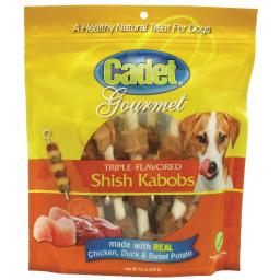 Cadet c01362 cadet gourmet rawhide shish kabob triple flavor treats chicken, duck and sweet potato 12 ounces